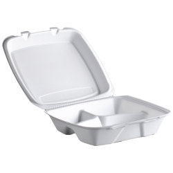 Foam Food Container, 3 Compartment 8inch- 200's (Piece)