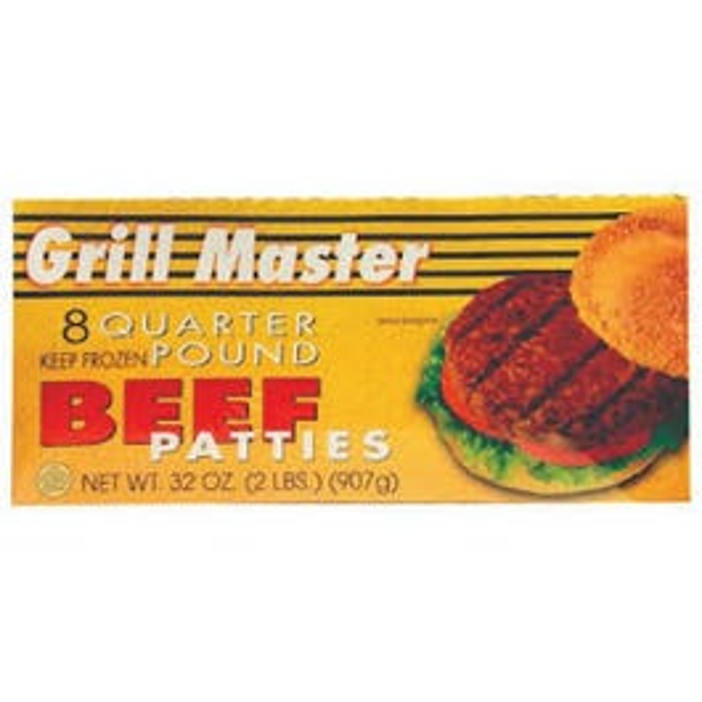 Grill Master 8 Quarter Pound Beef Pattie - 32 oz (CASE)