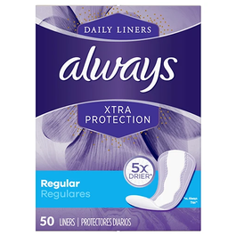 Always Daily Liners Xtra Protection, Regular - 50 Cnt