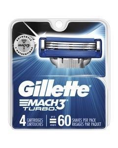 Gillette Mach3 Turbo Razor Blades, Refills - 4 Blades (Piece)