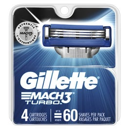 Gillette Mach3 Turbo Razor Blades, Refills - 4 Blades (PACK OF 2)