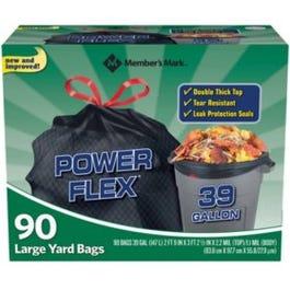 Member's Mark 39 Gallon Power-Guard Drawstring Yard Trash Bag - 90 CT (Piece)