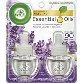 Air wick Plug in Scented Oils 2 Refills, Lavender and Chamomile, Essential Oils, Air Freshener - 2 P (CASE)