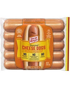 OM HOT DOGS-CHEESE DOGS 10 LIN - LB (CASE)
