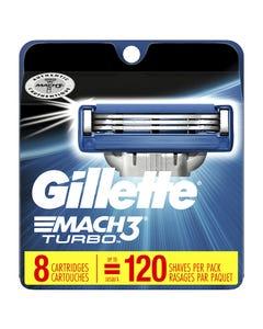 Gillette Mach3 Turbo Razor Blades, Refills - 8 Blades (CASE)