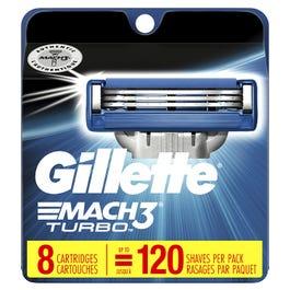 Gillette Mach3 Turbo Razor Blades, Refills - 8 Blades (Piece)