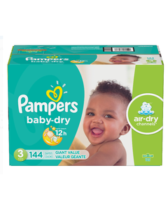 Pampers Baby Dry Disposable Baby Diapers Size 3, Giant Pack - 144 Cnt (Piece)