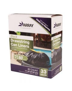 Array Black Drawstring Can Liners - 33 Gallon - 1.1 Mil - Low Density - 80 Ct. Box (Piece)