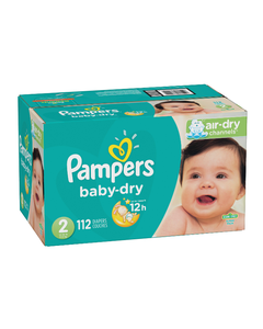Pampers Baby Dry Disposable Baby Diapers Size 2, Super Pack - 112 Cnt (Piece)