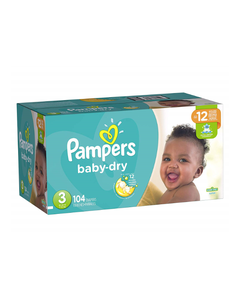 Pampers Baby Dry Disposable Baby Diapers Size 3, Super Pack - 104 Cnt (Piece)