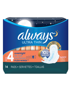 Always Ultra Thin Overnight Pads with Wings - 14 Cnt