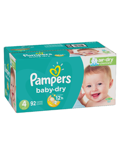 Pampers Baby Dry Disposable Baby Diapers Size 4, Super Pack - 92 Cnt (Piece)