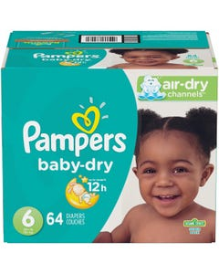 Pampers Baby Dry Disposable Baby Diapers Size 6, Super Pack - 64 Cnt (Piece)