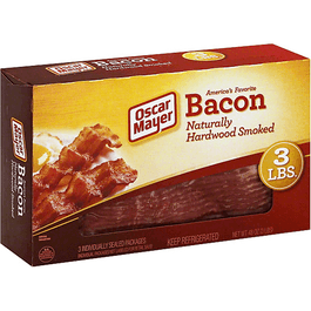 Oscar Mayers Naturally Hardwood Smoked Bacon - 3 Lbs (CASE)