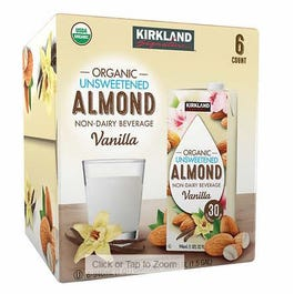 Kirkland Signature Organic Unsweetened Non-Dairy Vanilla Almond Milk- 32 oz (Piece)
