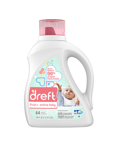 Dreft Stage 2: Active Baby HE Liquid Laundry Detergent, 64 Loads - 100 oz (CASE)