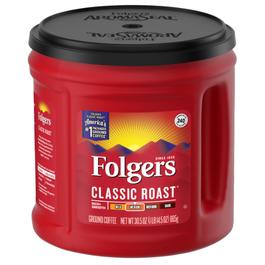 Folgers Classic Roast Ground Coffee, Medium Roast Canister -  30.5 oz. (Piece)