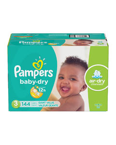 Pampers Baby Dry Disposable Baby Diapers, Giant Box, Size 3 - 144 Cnt (Piece)