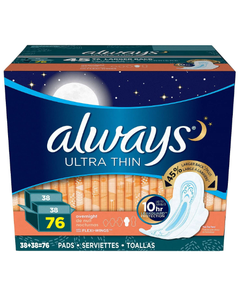 Always Ultra Thin Overnight Pads with Wings - 76 Cnt (Piece)