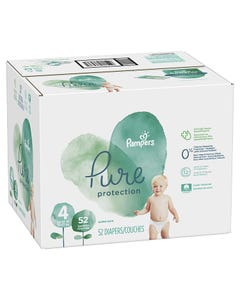Pampers Pure Protection Disposable Baby Diapers Size 4, Super Pack - 52 Cnt (CASE)