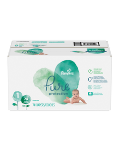 Pampers Pure Protection Disposable Baby Diapers Size 1, Super Pack - 74 Cnt (CASE)