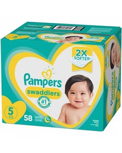 Pampers Swaddlers Disposable Baby Diapers, Super Box, Size 5 - 58 Cnt (CASE)