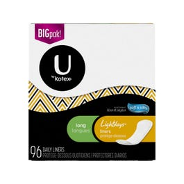 U by Kotex Security Lightdays Liners, Long - 96 Daily Liners (CASE)