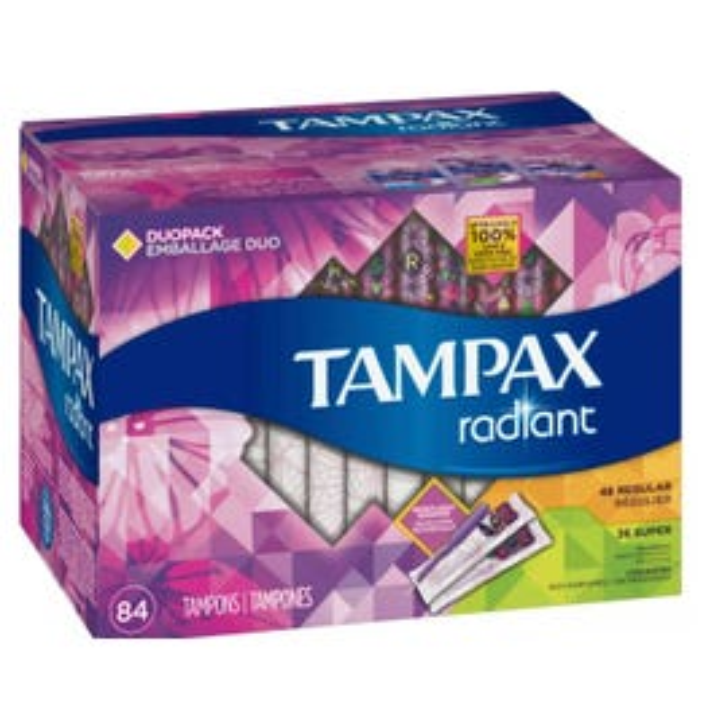 Tampax Radiant Duopack Tampons, Regular/Super (84 ct.) (Piece)