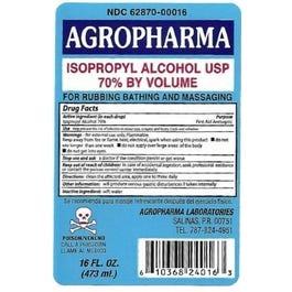 Agropharma Isopropyl 70% Rubbing Alcohol - 16oz (Piece)