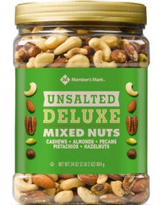 Member's Mark Unsalted Deluxe Mixed Nuts (34 oz.) (Piece)
