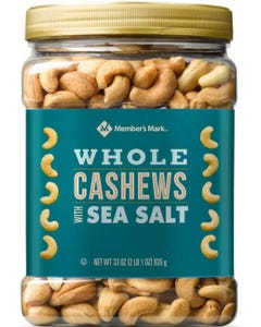 Member's Mark Roasted Whole Cashews with Sea Salt (33 oz.) (Piece)